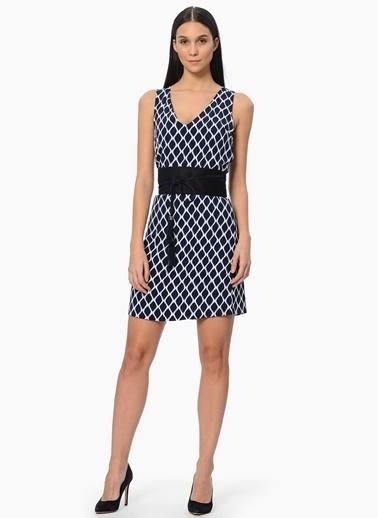Network Askılı Desenli Mini Elbise Lacivert